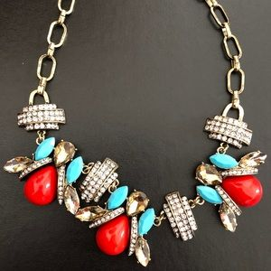 Necklace with red and turquoise stones